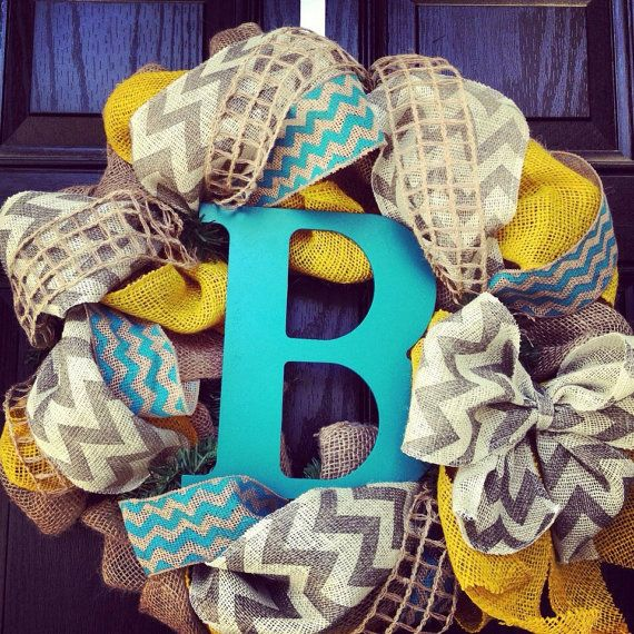 Burlap wreath with Turquoise//Yellow// Grey Chevron with center letter -  Chevrons Galore
