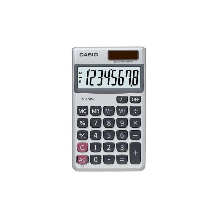 Casio SL-300SV Basic Calculator, Light Silver