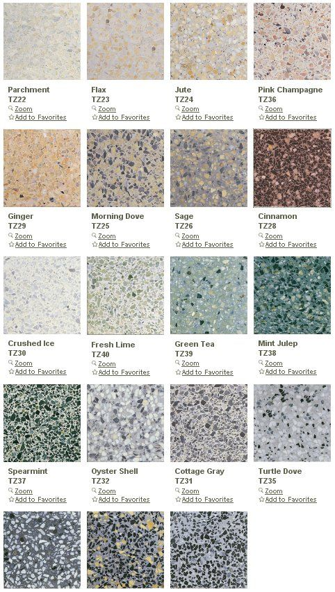 Terrazzo tiles in many color ways and 3 sizes from Daltile - Retro Renovation: This is actually what i want to cover. I HATE this stuff.