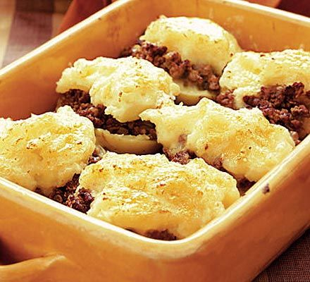 Shepherd's pie jackets  A jacket potato with a difference - these bake so quickly in the microwave, and the mince and cheese make a filling and tasty supper