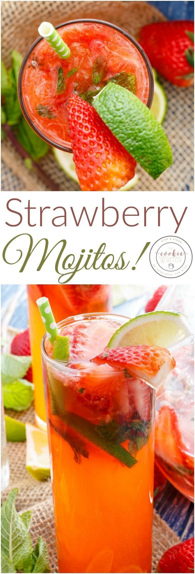 Strawberry Mojitos   http://thecookiewriter.com   @thecookiewriter   #mojitos    Whether you go the alcohol or alcohol-free route, these strawberry mojitos will surely cool you down this summer! Vegan, vegetarian, and gluten-free!