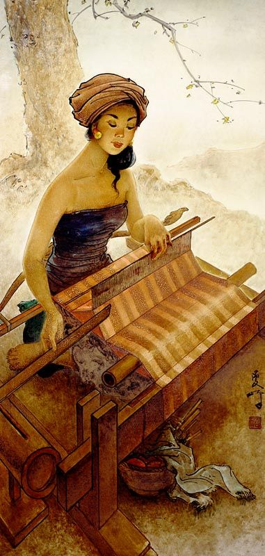 Lee Man Fong - Balinese Weaving (sold for $ 107,367)