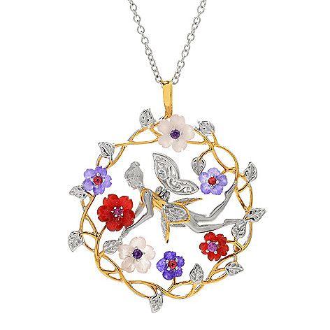 155-254 - Gems en Vogue Multi Gemstone Carved Flower Wreathe & Fairy Pendant w/ Chain