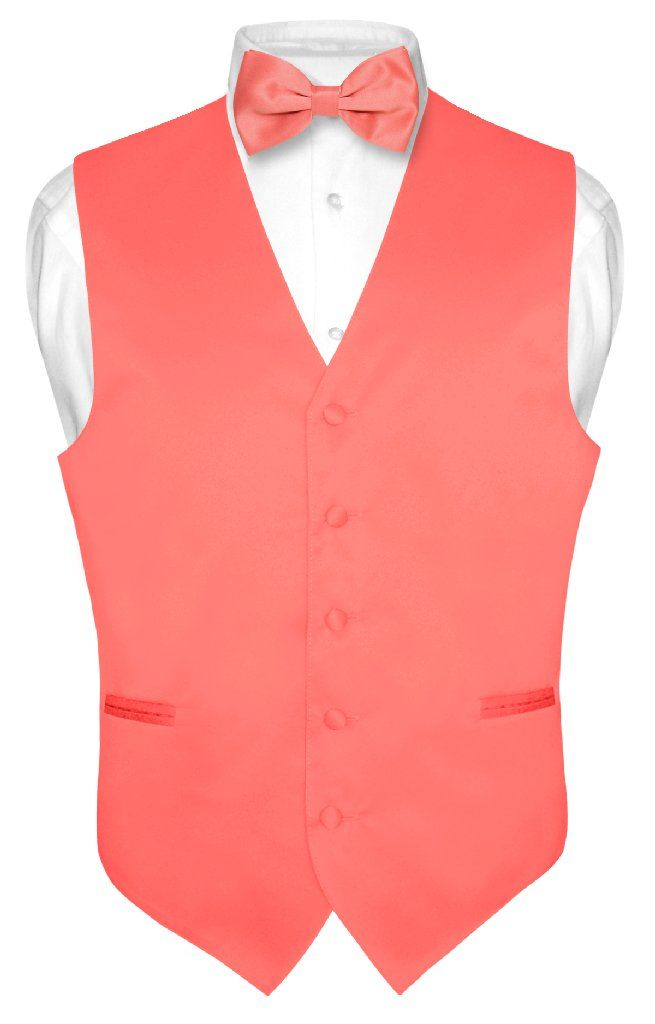 Men's Dress Vest & BowTie Solid CORAL PINK Color Bow Tie Set for Suit or Tuxedo