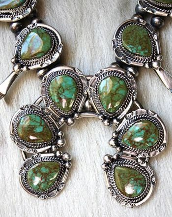 Heirloom green turquoise squash blossom necklace