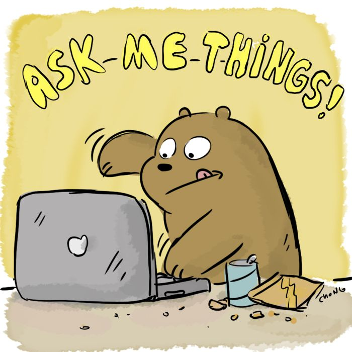 In Celebration of the new WE BARE BEARS episodes airing in April, I'll be answering QUESTIONS all weekend on Twitter and Tumblr! Ask away!  —Daniel Chong