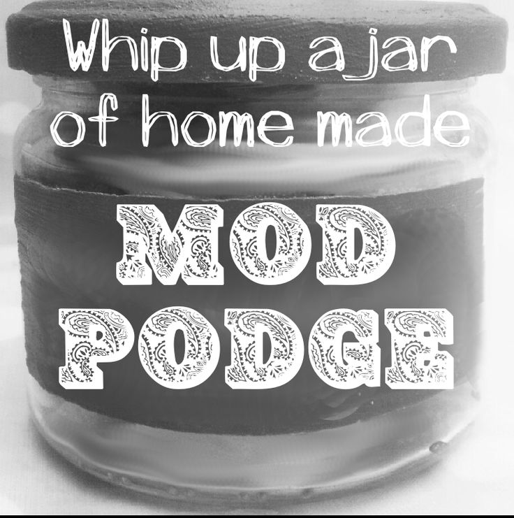 To make a jar of fake Mod Podge you need 1 cup of glue and 1/3 cup of water. Shake really well  and use as you would Mod Podge. To make it gloss add 2 table spoons of water based varnish or to make the sparkly add super fine glitter.