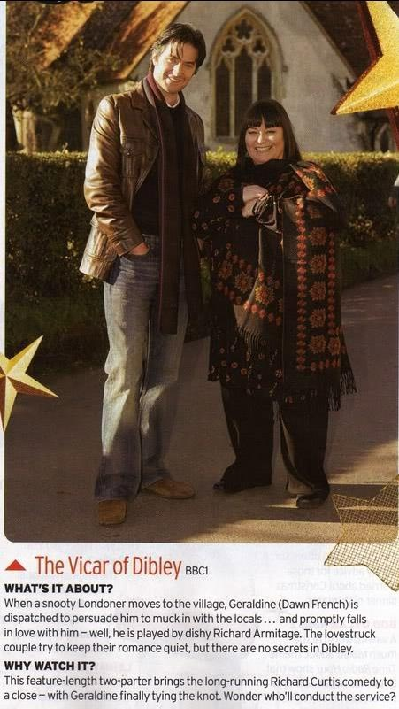 Richard Armitage and Dawn French, last episodes of The Vicar of Dibley...