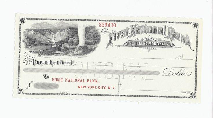1800s First National Bank Unissued Bank Check Helena Montana 339430 | eBay-SR