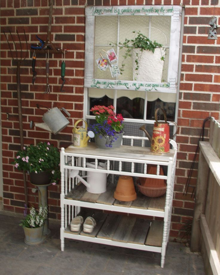 Potting Bench Repurposed From Changing Table Topped With