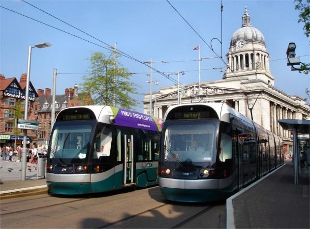Trams in Nottingham's Old Market Square