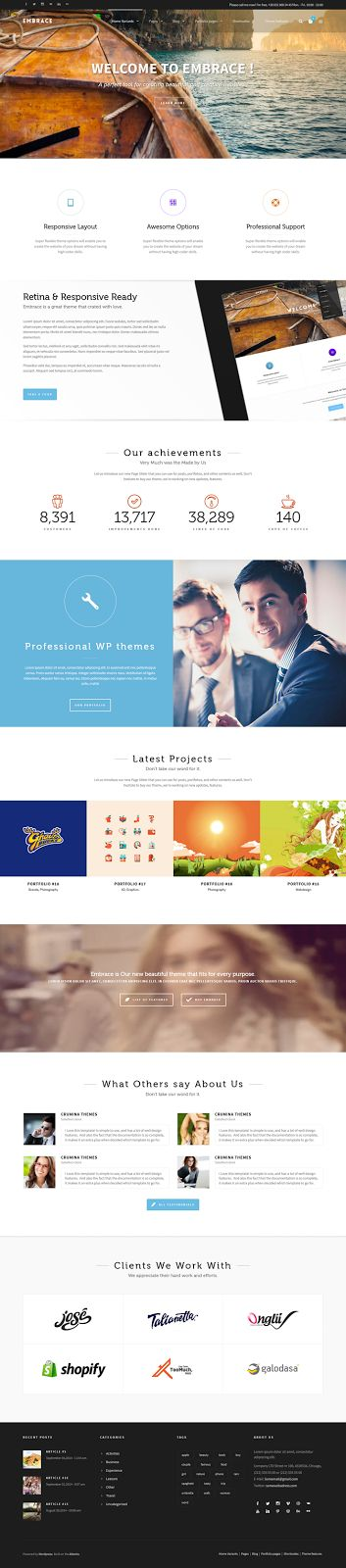 Embrace Creative Corporate WordPress Theme #webdesign