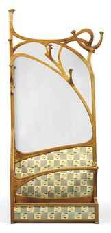 "Joan Busquets i Jané (1874-1949) - Hall Stand with Mirror. Carved Ash, Polychrome Tiles and Mirrored Glass. Barcelona, Spain. Circa 1900. 97-1/2"" x 39-1/4"" x 10""."