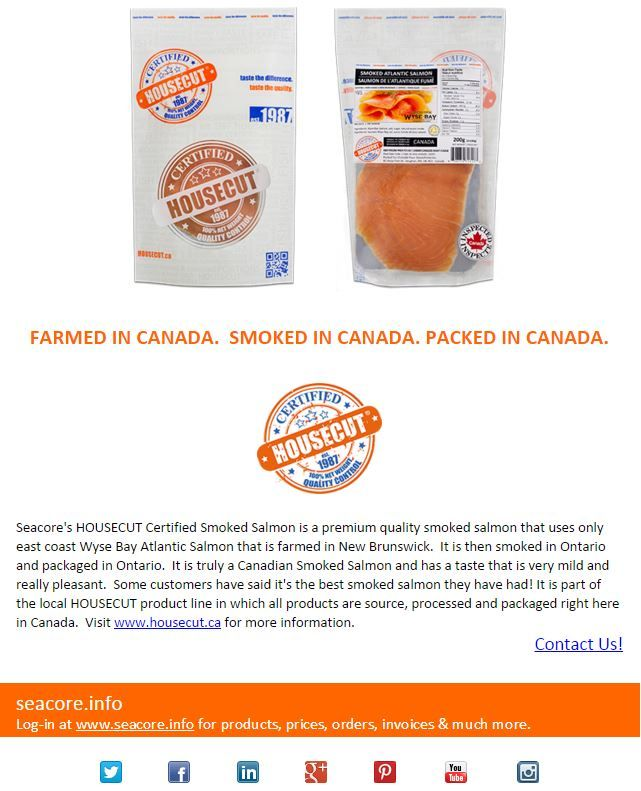 Farmed in Canada.  Smoked in Canada. Packaged in Canada. 100% Canadian Smoked Salmon that is so tasty! #HOUSECUT
