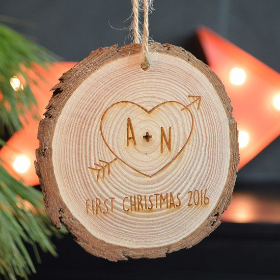 First Christmas Ornament First Christmas As a Couple Rustic Tree Decoration Personalised Christmas Gift Wooden Tree Log slice Engraved