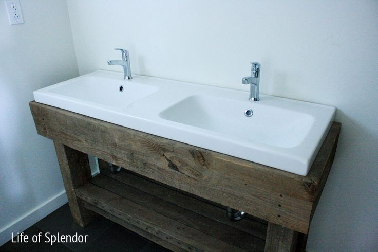 Farmhouse Vanity; ikea sink, link to it also pinned; rustic meets contemporary, MY FAVORITE.