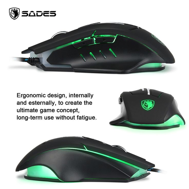 SADES Q7 USB Professional Gaming Mouse 7 Buttons 5 LED Lights - Tomtop.com