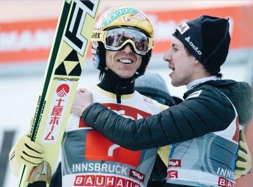 Noriaki Kasai and Simon Amman share third place in Innsbruck. Four Hills Tournament, january 2015.