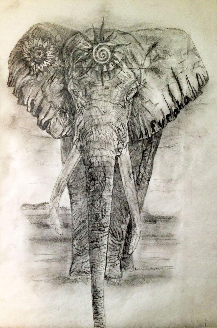 Grey Ink Indian Elephant Tattoo Design