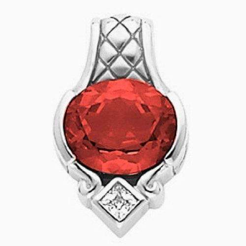 Platinum Oval Cut Chatham Created Ruby and Diamond Pendant Gems-is-Me. $4710.48. This item will be gift wrapped in a beautiful gift bag. In addition, a 'gift message' can be added.. FREE PRIORITY SHIPPING. Save 40% Off!