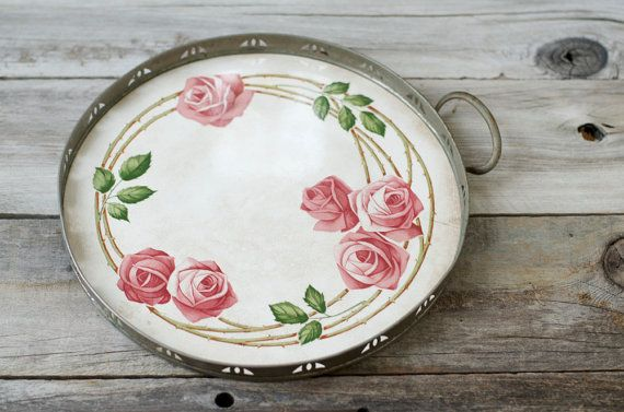 $68 Art Nouveau Rose Ceramic Serving Tray  Germany by HouseofSeance