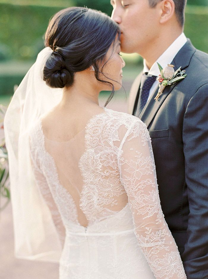 Couture Chantilly Lace Wedding Dress with an Open Back    #wedding #destinationwedding #travel #france #fineartwedding #married #brideandgroom #weddingdress #laceweddingdress