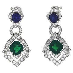 Original Cartier Colombian Emeralds Diamonds Sapphires Victoria Earrings