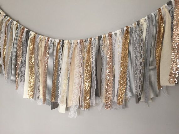 Gold & Rose Gold sequin garland banner with Grey by ohMYcharley