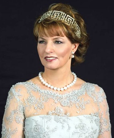 The Crown Princess Margareta of Romania, Custodian of the Romanian Crown (b. 1949).  She is a daughter of King Mihai I and his wife, The Princess Anne of Bourbon-Parma. She is the wife (from 1996) of Radu Duda. She has no children.