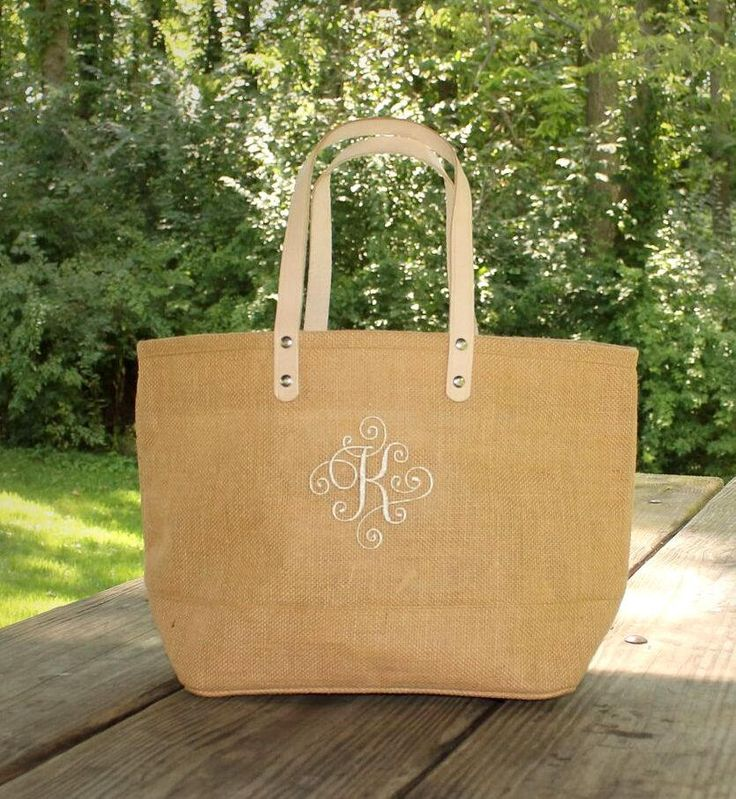 Personalized Natural Burlap totes with single initial - Monogram Jute Tote - Summer Handbag Bags - bridesmaid jute tote - cruise jute tote by MJMonograms on Etsy