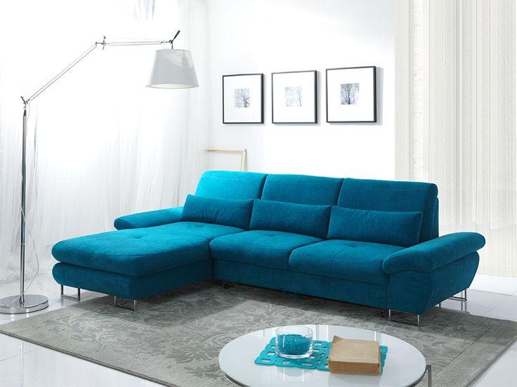 Canapé d\'angle convertible en tissu bleu azur LUCIANO, avec coffre ...