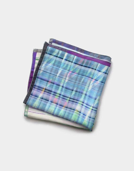 Mens Pocket Square, Blue Pocket Scarf, Four Colour Handkerchief, Wedding Waistcoat Pocket Squares, Puff Pocket Square, Father Husband Gift