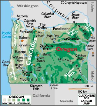 """Map of Oregon - I found this link via http://www.el.com/to/oregon/maps/ The description given for this link was, """"Provides a wide selection of Oregon map pages featuring attractions, facts, famous natives, flag, landforms, land statistics, latitude, longitude, and links."""""""