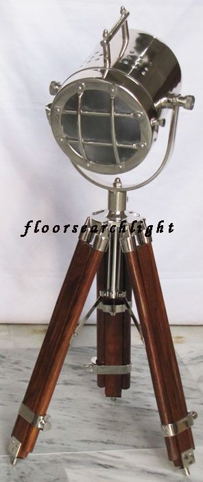 NAUTICAL SEARCHLIGHT ROSEWOOD TRIPOD TABLE LAMP SPOT LIGHT HOME DECORATIVE LAMP