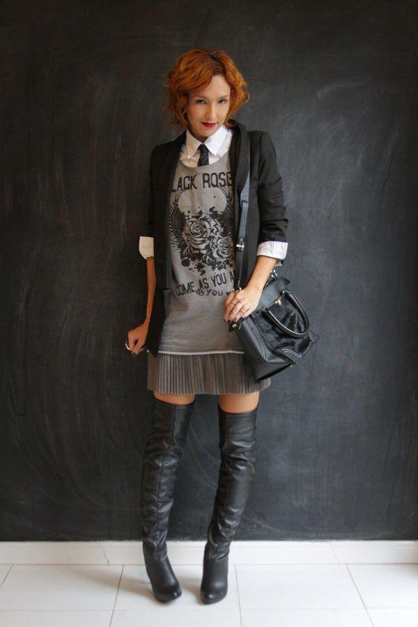 Look do dia: gravata, vestido e otk boots - Blog De repente Tamy Blog De repente Tamy