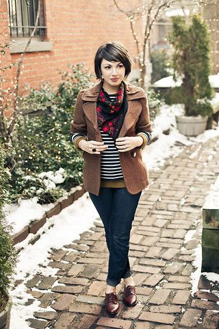 Love the mix of stripes and floral as well as the mix of navy, brown, and black. Would be great for school.