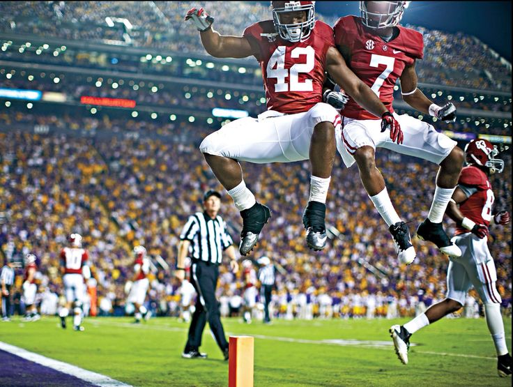 Nov. 3, 2012 Alabama vs LSU. Alabama running back Eddie Lacy (42) and Alabama wide receiver Kenny Bell (7) air-bump after Lacy's TD run during the first half of the Alabama 21 - 17 victory at LSU. Via ESPN The Magazine #Alabama #RollTide #BuiltByBama #Bama #BamaNation #CrimsonTide #RTR #Tide #NationalChampions #RammerJammer #ESPN