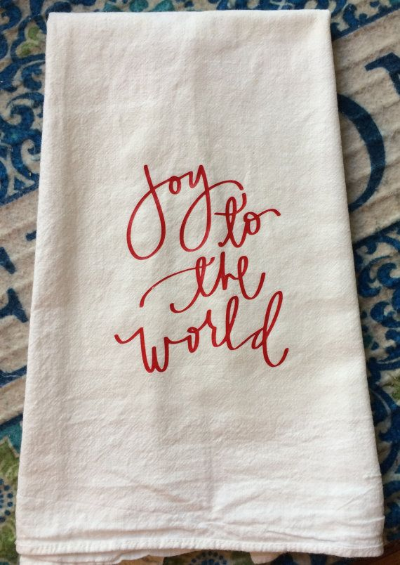 Vintage Farmhouse Joy to the World Flour Sack Dish Towel Christmas Decor & Gift by TheFarmhouseShoppeCo