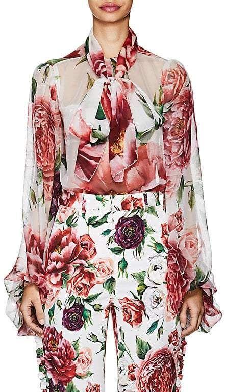 6986436daf9614 Dolce   Gabbana Womens Peony-Print Silk Chiffon Tieneck Blouse by Dolce    Gabbana