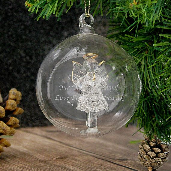Personalised Glass Bauble  Christmas Angel Bauble by OMGmygift