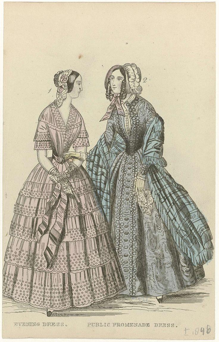 Anonymous | The Ladies' Cabinet of Fashions, ca. 1846 : Evening dress..., Anonymous, G. Henderson, c. 1846 | Nr. 1: gestippelde avondjapon met gerimpelde stroken stof en geschulpte zoom. Accessoires: muts, ceintuur, mitaines,  waaier. Nr. 2: wandeljapon. Accessoires: geruite sjaal, afgezet met franjes, hoed, handschoenen, zakdoek. Prent uit het modetijdschrift The Ladies' Cabinet of Fashions, Music and Romance (Londen 1832-1870).