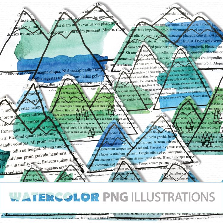 WATERCOLOR hand drawn Mountains PNG Clip Art Hills
