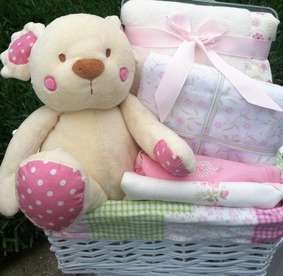 Polka Dot Pink Bear Baby Gift Basket by FiveBrownMonkies ...