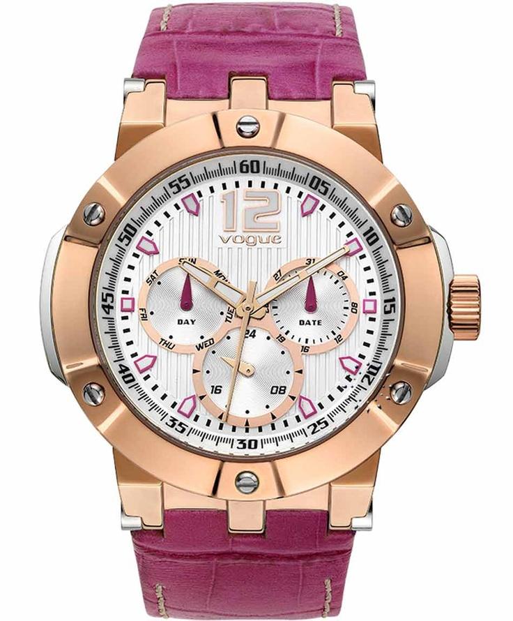 VOGUE Elegance Rose Gold Fuchia Leather Strap  225€  Αγοράστε το εδώ: http://www.oroloi.gr/product_info.php?products_id=31596