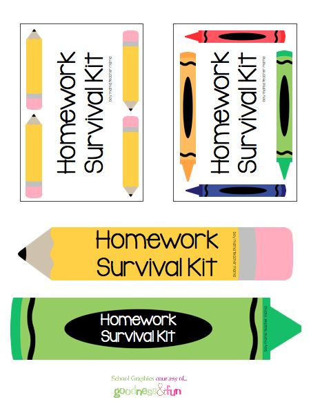 love this idea for a homework caddy - and free printable labels!
