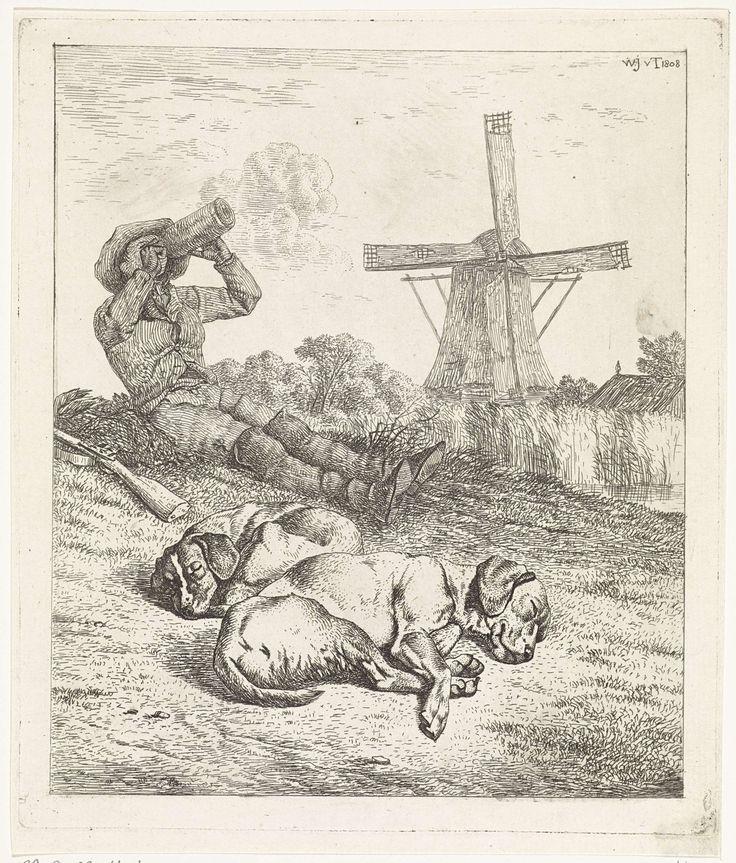 Wouter Johannes van Troostwijk | Rustende jager met slapende honden, Wouter Johannes van Troostwijk, 1808 | Rustende jager met slapende honden. Op de achtergrond een windmolen.