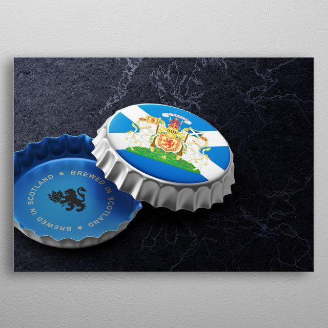 Scotland Beer Cap Poster Print By Moon Calendar Studio Displate Beer Cap Crafts Beer Caps Vintage Bottle