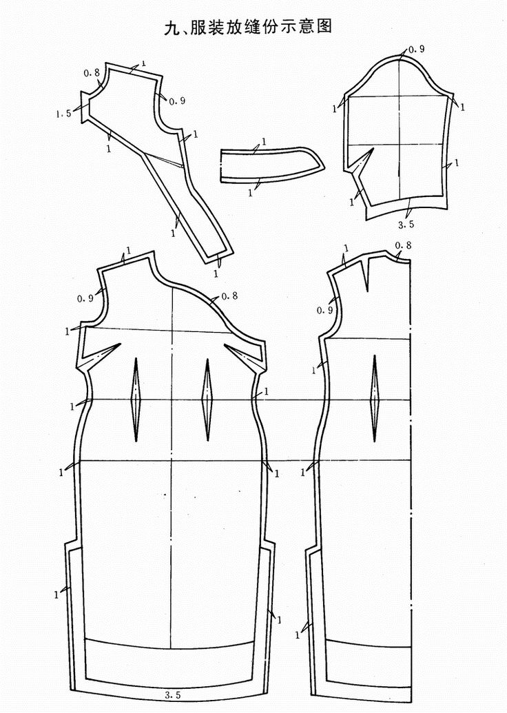 schnitt02.gif (777×1093) (qipao pattern drafting with seam allowance)