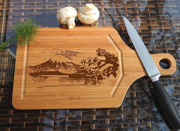 ikb363 Personalized Cutting Board Wood Japan mountain landscape Sakura Japanese restaurant