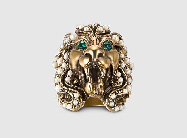 Gucci - anello testa di leone con cristallo Swarovski e perle di vetro 404840J1D518091